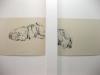 Two and a half billion thoughts and some lines, 2008, vue d'exposition IrmaVep Club, Reims, France, encre sur carton, diptyque 80 x 60 cm (chacun), pièces uniques