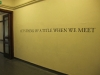 Let's think of a title when we meet, 2013, vinyl sticker on wall, 325 x 14 cm, edition of 5 + 2 AP