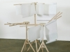 Reading Machine (for Between Words), 2018, structure in beech wood (12 branched wooden hanging rack with rotating top), paper and drawings (12 music scores 45 x 75 cm each and 12 blank papers, different types of paper, variable dimensions), 160 x 54 x 54 x 130 diamter cm (tall version), 100 x 54 x 54 x 130 diamter cm (small version), edition of 4, serie of unique pieces (music score). Photo © Philippe De Putter