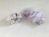 Billets doux, 2018, 2 coquilles, eau, encre violette provenant de deux billets doux, papier, 20 x 11,5 cm chaque coquille, série de pièces uniques
