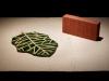 Bird's eye view, 2012, céramique émaillée, 22 x 33 x 1 cm, Brique, 2012, céramique, 10,5 x 5 x 22 cm, vue d'exposition Les objets qui parlent, galerie Dohyang Lee, photo © Aurélien Mole