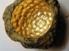 Honeycomb, 2014, fossile, gold leaves, variable dimensions, edition of 5 + 2.AP