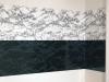 Marble Horizon, 2014, stickers vinyle autocollant, imprimé marbre blanc et noir, dimensions variables