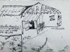Estenopeicas rurales, Dessin préparatoire Don Hermano - Ubaté, 2015, dessin sur papier, sous verre, cadre en ruban adhésif blanc, 25 x 19 cm avec cadre, pièce unique