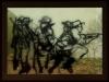 Colina 266 - Old Baldy (Le vieux mont chauve), 2015, triptyque, photographies, dessins sur papier de riz, tablettes lumineuses, photo 48 x 36 cm, pièces uniques