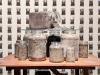 Mina, 2012 - 2018, installation, Peoria Riverfront Museum, Peoria, IL, Etats Unis, 480 sacs plastique, 480 cloches dorées, poussière, dimensions variables, pièces uniques