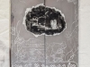 Melancolia 75, 2019, retable, aluminium poli miroir, gravure sur métal, transfert de photo sur cire, peinture à l'encaustique, plâtre, 80 x 60 cm, pièce unique