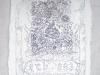Sub 883, 2019, tatouage à l'encre de chine noire, cire et pigments blancs, tissu ciré, 60 x 40 cm, pièce unique