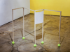 Folding screen, 2017, structure en bois de bouleau, balles de tennis, charnière, dessin au crayon sur papier d'impression, dimensions variables (max 170 x 92,5 x 6,7 cm), pièce unique