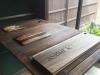 Cutting boards, 2017, trois planches à découper en bois, dimensions variables (chaque 15 x 18 cm, 16 x 27 cm, 16,5 x 54 cm), pièces uniques