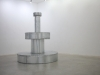 Chagrin, 2019, waterproof fountain, zinc, lead, electric pump, water, 150 x 150 x 170 cm, unique piece. Exhibition view at the Galerie Vasistas, Montpellier, France