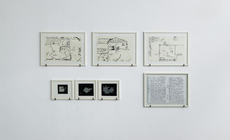 PREPARATORY DRAWING DON LUIS - San Luis De Ocoa, DON HERMANO - Ubaté, DON EMILIO - Oriental bank of the Ariari river, 2015 - drawing on paper, glass, white tape frame, 25 x 19 cm with frame, Unique piece /  PINEHOLE CAMERA 1 / 0,5 / 1,5 - 2, 2015 - perforated aluminium plaque, glass, white tape frame 12 x 11 cm with frame Unique piece/ NOTES TESTIMONIES DON LUIS - San Luis De Ocoa 2015 - text on paper, glass, white tape frame, 25 x 19 cm with frame, Unique piece
