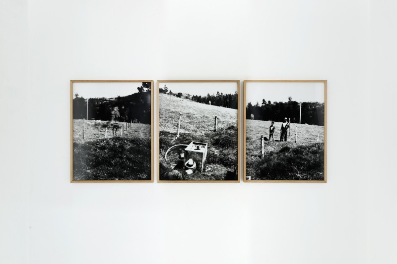 FAMILY FRANCO Y LOMA - Ubaté, 2015 - tryptich, positive in black and white of pinhole camera photographies, 42 x 52 x 3 cm with frame each piece, Edition of 5 + 2 AP