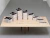 Eleven Instruments, Eleven Variations, Book Concerto in One Act: for 62 Penguins, 2018, table-étagère sur mesure en frêne et noyer, thermomètre, 62 livres (Fahrenheit 451 de Ray Bradbury),  30 x 120 x 77 cm (table), 120 x 77 cm (étagère avec pieds démontables). Performance réalisée en 2017 au FRAC Franche-Comté, Besançon, France, pièce unique + 1 EA. Photo © Aurélien Mole