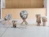 Palenqueros - Cinq tambours transformés par leur interprétation en un voyage, 2013, 2 ensembles de 5 tambours, cuir tanné en parchemin, cordage artisanal en chanvre, douves pour tonneau de châtaignier, cales en chêne brulé, pièces uniques, photos Tadzio © Fondation d'Entreprise Hermès