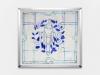 Jus, 2019, vitrail à l'encaustique, tissu coton, cire, pigments, cadre bois et aluminium, 75,5 x 70,5 x 4,5 cm, pièce unique. Photo © Aurélien Mole