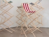 Normales de saison, 2018, bois, tissus, visserie, 7 chaises, dimensions variables, pièces uniques. Avec le soutien de L'ADAGP
